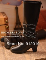 Fashion Bow Black Boot BJD Girl Doll 1/3 SD10,SD13,1/4 MSD Super Dollife Shoes