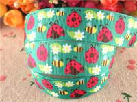 "2014 new arrival 7/8"" (22mm) Ladybug printed grosgrain ribbon cartoon ribbons cloth tape 10 yards WQWQ14040917"