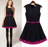 Milan Fashion ; free belt, Slim fit women casual dress ; retro praty dresses ; vestidos de festa ; ropa mujer; saias femininas