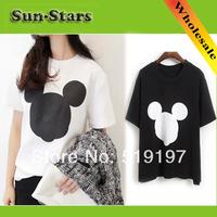 Fashion women 2014 clothes high street harajuku blouses & shirts white/black mickey mouse women t-shirts ,sweatshirts women