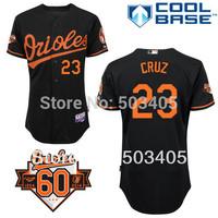 Baltimore Orioles #23 Nelson Cruz Black Baseball Jersey Commemorative 60th Anniversary Patch,Embroidery Logos