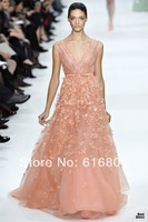 Elie Saab New Couture 2014 Fashion Beading Applique V-neck A-line Evening Dress