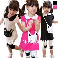 2014 Summer new girls kitty bag cotton T-shirt + pant suit 3 colour 100-140 5set/lot