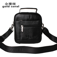 Male genuine leather mini cross-body one shoulder strap waist pack portable 5.5 6 mobile phone tablet camera bag