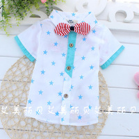 Free Shipping 2014 Korean Style Children Short Sleeve Five-pointed Star Summer Shirt With Bowtie