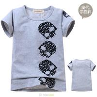 Children's Summer Fashion Tee Shirts 2014 Boys Girls Skull Print T-Shirts Kids Unisex High Quality Gray O-Neck T Shirt 5 Pcs/Lot