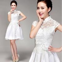 2014 latest short lace wedding dress word shoulder white princess dress bridal wedding mini dress
