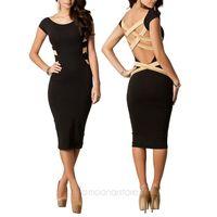 S M L XL XXL Plus Size 2014 Spring New Fashion Women Sexy Knee Length Black Bodycon Bandage Dress Celebrity Casual Dress CE1420