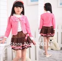 Spring 2014 new Korean girls high collar shirt, lace jacket + skirt three-piece dresses 2 colour 100-130 4set/lot