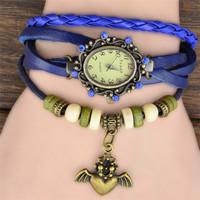 7Colors Original High Quality Women Genuine Leather Vintage Watch,Bracelet Watch Bat Pendant Free Drop shipping