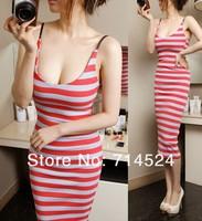 2014 New Cotton summer striped sleeveless women sexy spaghetti strap mid-calf bodycon long dress,3colors, pluse size,