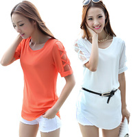New 2014 Fashion Elegant fresh cutout loose half sleeve chiffon shirt plus size summer ladies blouses Free Shipping
