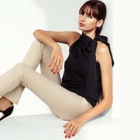 2014 New Arrival summer fashion tops ladies chiffon blouse sleeveless women clothes vest shirt Black Free Shipping