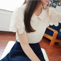 2014 New Arrival summer peter pan collar chiffon shirt elegant women blouse short-sleeve tops basic t-shirt Free Shipping