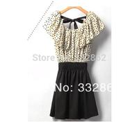 Free shipping 2014 new fashion sweet temperament dot waisted dress Korean dress