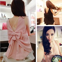2014 New Arrival spring and summer women's fashion ladies top sleeveless bow sweet racerback basic shirt Free Shipping