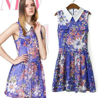 Womens  lily floral print Turn-down collar Dress Summer 2014 New Fashion Cute Sleeveless Purple Dresses for Women Free Shipping