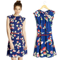 Womens Bud print Lotus leaf collar Dress Summer 2014 New Fashion Cute Sleeveless Dresses With Belt for Women Free Shipping