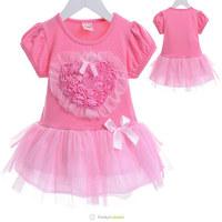 New 2014 Summer Floral Girls Dress Kids Rose Cotton Dress Children Three-dimensional Lace Flower Decoration Sweet Princess Dress
