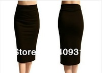 2014 Summer New FashionElastic Fold Band  High Waist  Plus Size European and American style Midi Maxi Long Pencil Skirt