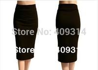 2014 Summer New FashionElastic Fold Band  High Waist  Plus Size European and American style Midi Maxi Long Pencil Skirt