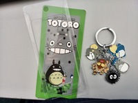free shipping 1pc Metal Keychain figure my neighbor Totoro with 5 pendants Model  chain Doll Toys cute bag lanyards