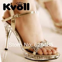 Free shipping Fashion kvoll sandals ultra high heels platform sandals rhinestone sexy u.s. shoe shoes