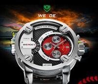 2014 Classic design Original Japan 2035+2115 Quartz+Genuine leather Watch Luxury Brand WEIDE Waterproof Men Sports Dress watches