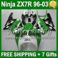 7R Fairing For KAWASAKI NINJA ZX7R 96-03 green ZX-7R JM128 ZX 7R 96 97 98 99 00 01 02 03 1996 1997 1998 2003  green white black