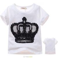 Wholesale 2014 Children's Summer Fashion Short T-shirts Boys Girls Imperial Crown Tee Shirt Kids Hot Sale Cotton Tops 5 Pcs/Lot