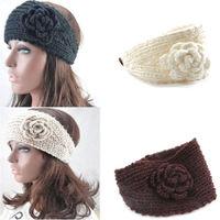 Women Crochet Headband Knit Hairband Flower Winter Ear Warmer Headwrap 4 Colors drop free shipping