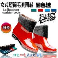 2014 women's spring shoes short fox fur boots rainboots fashion water shoes overstrung 4
