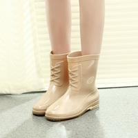 Short rain boots water shoes rainboots rubber shoes slip-resistant overstrung women's shoes 3