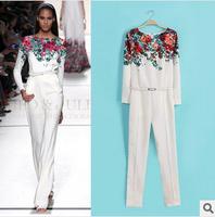 New! Fashion T Station New Print Lady's Elegant Jumpsuit Long Sleeve Long Pant Woman's Quality Clothing Set 14040811