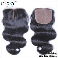 Cexxy hair Silk Base Lace Closure Brazilian Hair Body Wave 100% Human Hair Wigs No Sedding No Tangle With Shipping Free