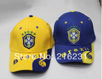 Big promotion summer 2014  world cup hats of Brazil bule caps sunwear man active visors men hats 2color stock 1pcs retail