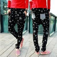 Free shipping 2014 New Men's Korean Casual Style  low pants men's star Harem pants Sweatpants Trousers 1pc/lot