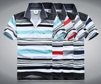 Free Shipping Luxury Designer Top Quality Short Sleeve Men's 100% Cotton  Slim fit Stylish Stripe T Shirts T-shirts Size M - XXL
