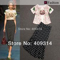 Free shipping 2014 New Summer fashion Brand Europ  Plus Size hot sale maxi long trumpet mermaid Dot Ruffles Midi Skirt