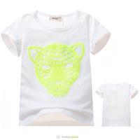 2014 Boys Girls Summer Fashion White Short Cotton T-Shirts Children Panther Tee Shirt Kids Leopard Tops 5 Pcs/Lot Free Shipping