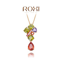 ROXI Gift Classic 14KGP Genuine Austrian Crystals Fashion Chain Colorful Stones Necklace zircon Pendant Party