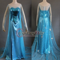 Hot Selling Custom Made Movie Frozen Snow Queen Elsa Dress Costume Dark Blue For Adult