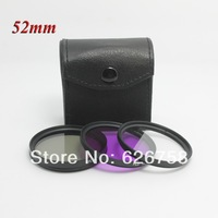 free shipping+ tracking number 1pcs 52mm UV FLD CPL+BAG Filter Set Polfilter for Canon nikon D90 D7000 EOS 650D 600D 550D 1100D