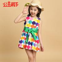 free shipping  sleeveless girl dress british style one-piece dress sweet fashion polka dot