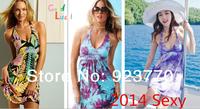 new 2014 summer fashion Brand women sexy bikini holiday Beach Cover Up Beach dress V-neck Ladies halter dresses