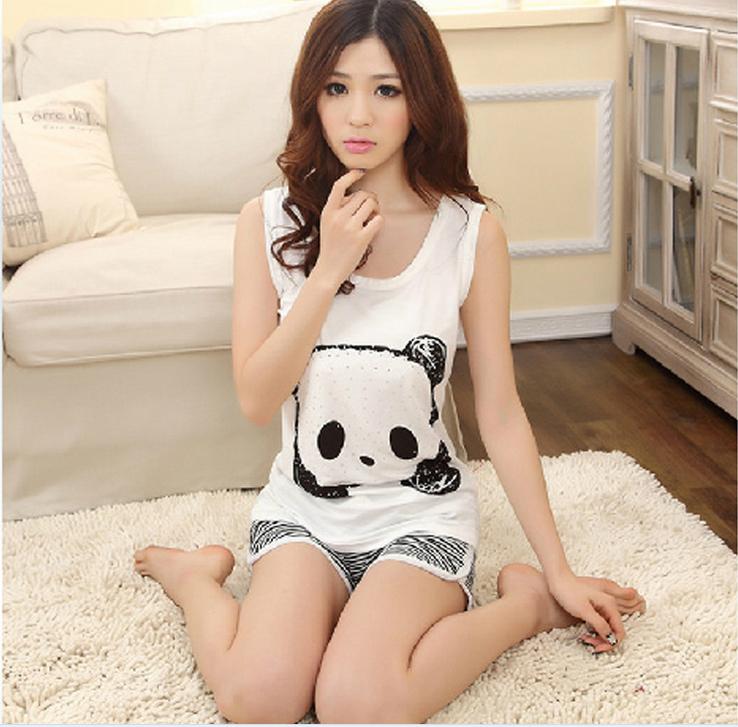 [alice] Limited Freeshipping 2014 New Summer Cute Cartoon Condole Sleeveless Vest Woman Sleepwear , The Lovely Panda Pajamas()