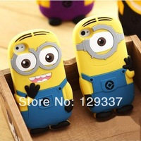 MOQ:1pcs Cute Brand Designer 3D Cute Cartoon Despicable Me Minion Soft Silicone Back Cover Case For Iphone4 4S 5 5S 5C