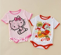 Free Shipping Hot 3pc/lot kids infant cotton romper baby HELLO KITTY rompers wear summer kids clothes cat romper wholesale