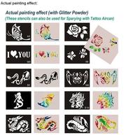 600pcs mixed 603styles Glitter Tattoo stencil Body Painting design Tatoo Kit template airbrush supplies Free shipping