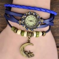 7 Colors Original High Quality Women Genuine Leather Vintage Watch,Bracelet Watch Moon Pendant Free Drop shipping
